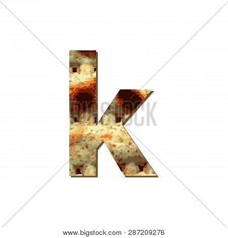 English Lowercase Letter K With Matza Texture. Font For Passover. Vector Illustration On Isolated Ba