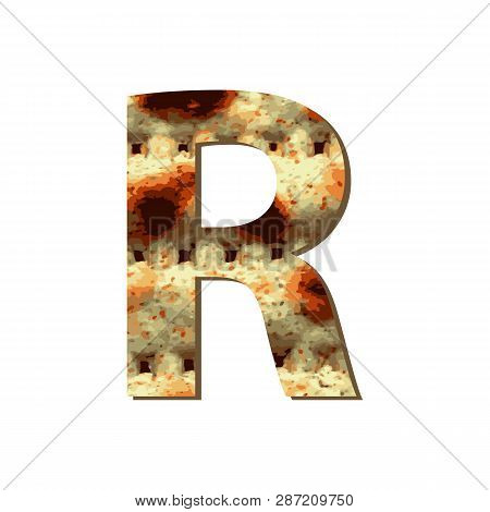 Capital English Letter R With Matza Texture. Font For Passover. Vector Illustration On Isolated Back