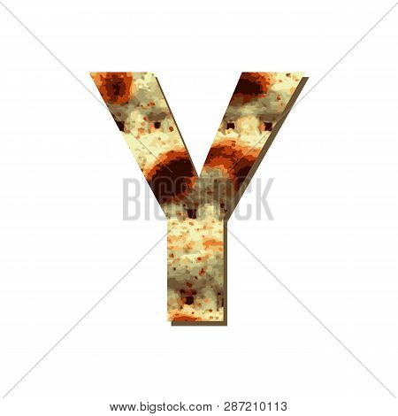 Capital English Letter Y With Matza Texture. Font For Passover. Vector Illustration On Isolated Back