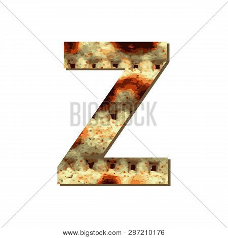 Capital English Letter Z With Matza Texture. Font For Passover. Vector Illustration On Isolated Back