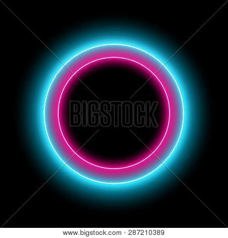Neon Circle With Light Effect On Black Background. Modern Round Frame With Empty Space For Text For