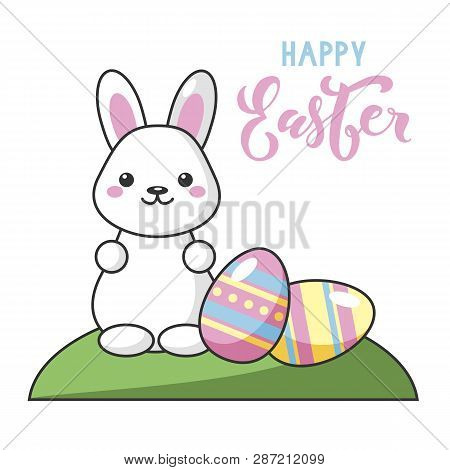 Little Cute Kawaii Easter Bunny With Easter Eggs. Happy Easter Lettering. Beautiful Kawaii Vector Il