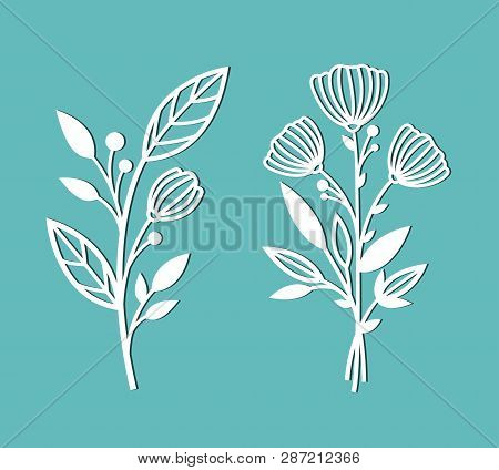 Flowers. Branches With Leaves And Buds. Patterns For Decoration. Elements For Cutting Out Of Paper,