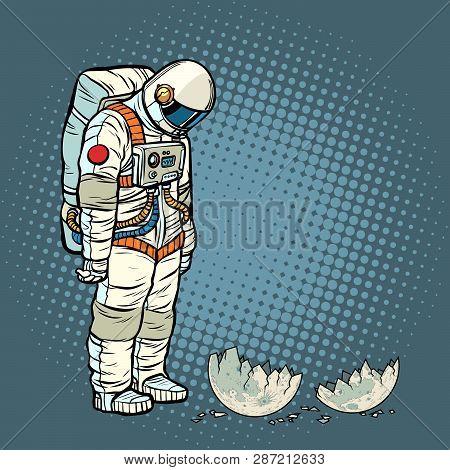 Guilty Astronaut Looks At The Ruined Moon. Pop Art Retro Vector Illustration Vintage Kitsch