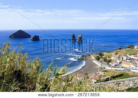 Outlook To Black Sand Beach Mosteiros On Sao Miguel Azores