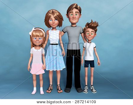 3d Rendering Of A Cartoon Family Portrait Consisting Of A Mom, Dad And Their Two Children - A Boy An