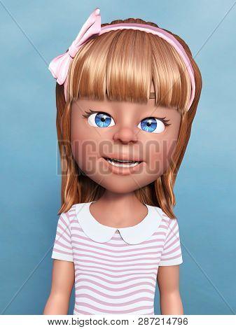 3d Rendering Of A Cartoon Girl Portrait. Blue Background.