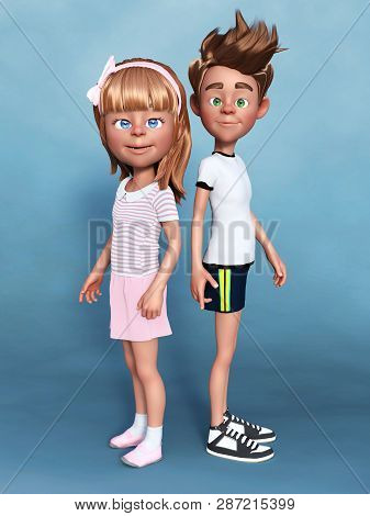 3d Rendering Of A Cartoon Boy And Girl Posing For The Camera. A Sibbling Portrait. Blue Background.