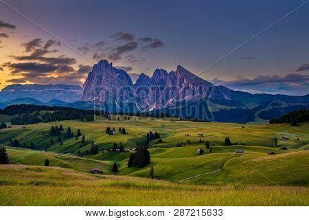 Sunrise In Alpe Di Siusi - Seiser Alm In Dolomite, Italy