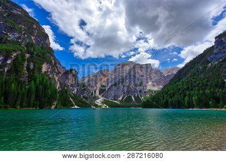 Beautiful View Of Lago Di Braies Lake Or Pragser Wildsee In Dolomite , Italy