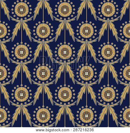 Scottish Thistle Onopordum Acanthium. Seamless Decorative Pattern