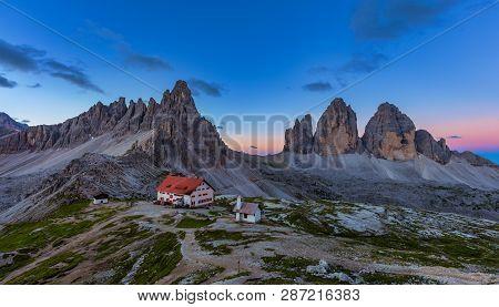 Panoramic View Of  Tre Cime And  Rifugio Hut Before Sunrise, Tre Cime Di Lavaredo National Park, Dol