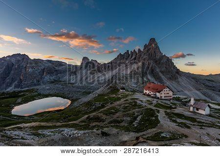 Tre Cime And  Rifugio Hut Before Sunrise, Tre Cime Di Lavaredo National Park, Dolomites, Italy
