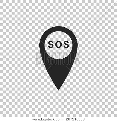 Marker Location With Sos Icon Isolated On Transparent Background. Sos Call Location Marker. Map Poin
