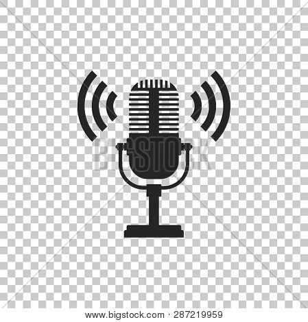 Microphone Icon Isolated On Transparent Background. On Air Radio Mic Microphone. Speaker Sign. Flat