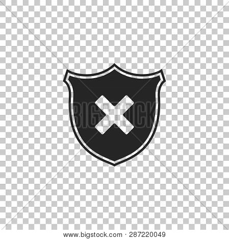 Shield And Cross X Mark Icon Isolated On Transparent Background. Denied Disapproved Sign. Protection