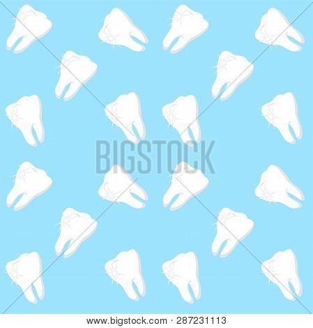 White Teeth On Blue Background. Dental Seamless Pattern. Raster Illustration