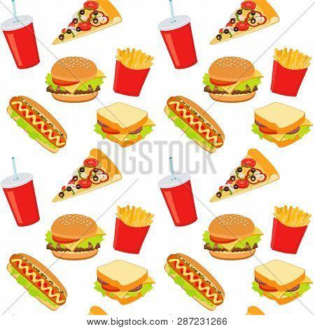 Hamburger, Hot Dog, Cola Drink. Takeaway Food. Fast Food Background. Seamless Pattern. Raster Illust