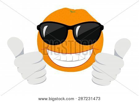 Orange Fruit Cartoon Mascot Character With Sunglasses Giving A Thumb Up. Raster Illustration Isolate