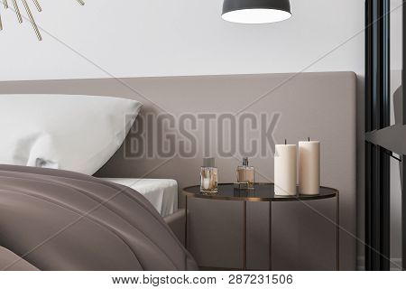 Candles And Perfume In Modern  Bedroom