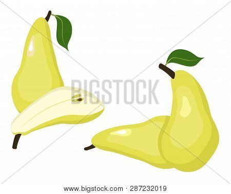 Pears Raster Illustration. Whole Pear And A Half Conference Pear Fruit On White Background.