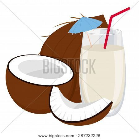 Coconut And A Glass Of Coconut Milk. Raster Illustration On White Background. Healthy Food.