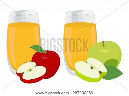 Juice Set. Glass Of Apple Juice With Red And Green Apples. Raster Illustration On White Background