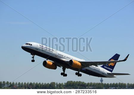 Amsterdam The Netherlands - May 4th 2018: Tf-fin Icelandair Boeing 757-200 Takeoff From Polderbaan R