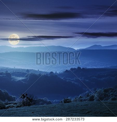Green Rolling Hills Of Romania Countryside At Night In Full Moon Light. Agricultural Field With Gree