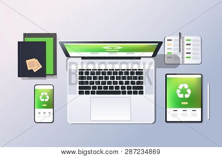 Mobile Computer Recycle Application Recycling Concept Top Angle View Desktop Laptop Smartphone Table