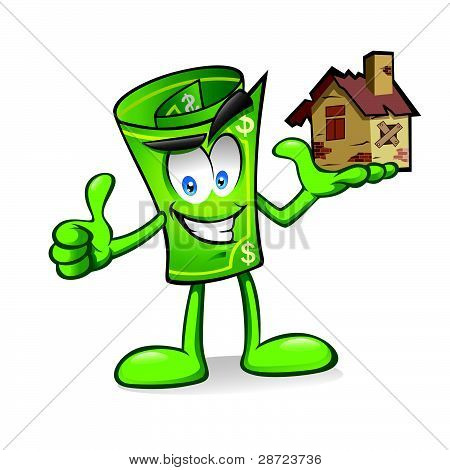 Cartoon Money With Damaged Homes