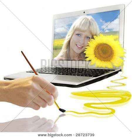 Summer background with smiling girl from notebook