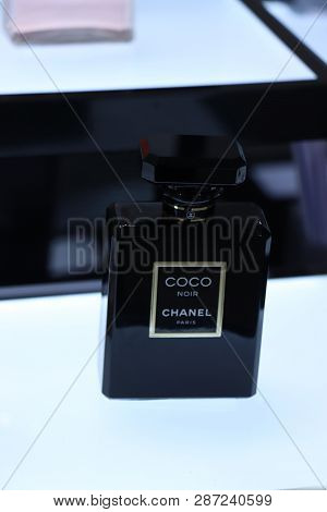 Haarlem, The Netherlands - July 8th 2018: Coco Chanel Noir Perfume On Display In A Luxurious Departm
