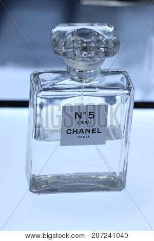 Haarlem, The Netherlands - July 8th 2018: The Famous Chanel Number 5 Perfume On Display In A Luxurio