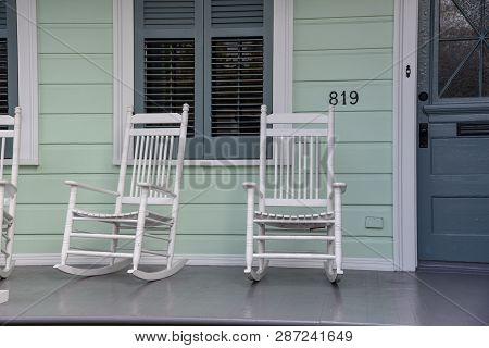 Typical Porch In A Shotgun House In New Orleans (usa)
