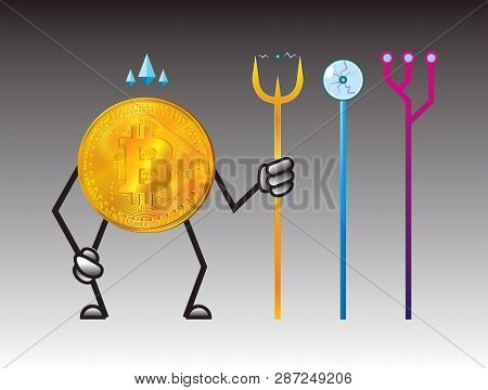Coin. Bitcoin Cryptocurrency. Bitcoin Character Design. For Illustration Of Digital Business. Super