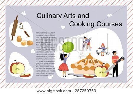 Culinary Art And Cooking Courses Poster, Banner Template. Happy Family Cooking Together An Apple Cak