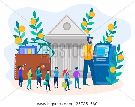 Vector Illustration Of The Concept Of Receiving Funds Through The Bank And Atm, The Queue Of People