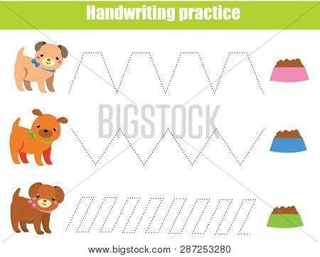 Handwriting Practice Sheet. Educational Children Game. Printable Worksheet For Kids. Tracing Lines E