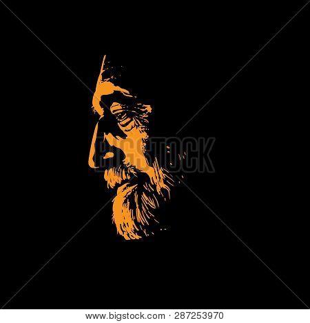 Old Man Portrait Silhouette In Backlight. Vector. Illustration.