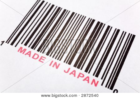Made in Japan and barcode business concept poster