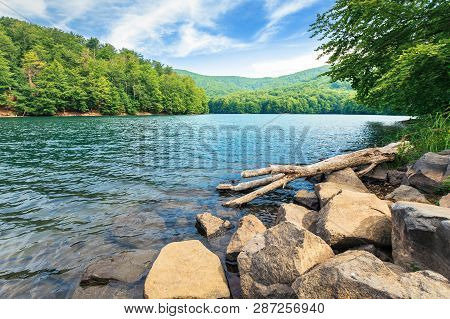 Beautiful Summer Scenery Near The Mountain Lake. Beech Forest And Rocks On The Shore. Sunny Weather