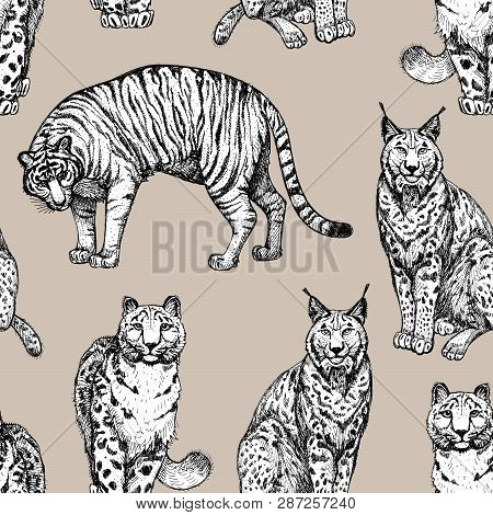 Seamless Texture With Wild Cats In A Beige Background. Clipart For Art Work And Weddind Design.
