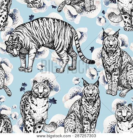 Seamless Texture With Wild Cats In A Blue Background And White Anemones. Clipart For Art Work And We