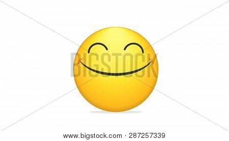 Smiling Bright Emoticon Vector Concept Illustration Of Smiling Emoji Icon For Chat, Messengers And N