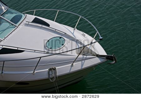 Front Of Power Boat Against Calm Water