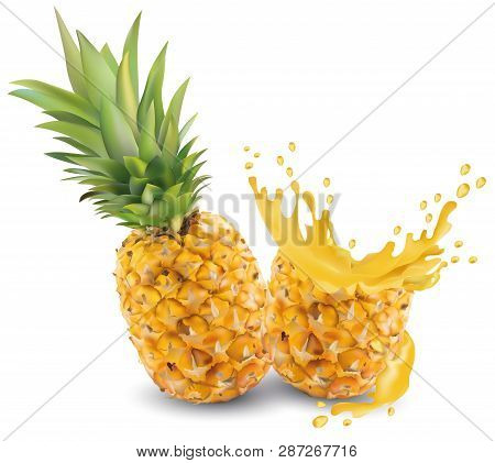 Pineapple Juice Close-up. Fresh Pineapple Juice. Splash With Pineapple On A White Background. Vector