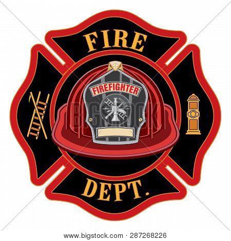 Fire Department Cross Red Helmet Is An Illustration Of A Fireman Or Firefighter Maltese Cross Emblem