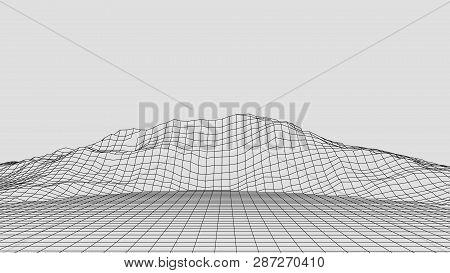 Wireframe Landscape Wire. Wireframe Terrain Lines Landscape Design. 3D Landscape