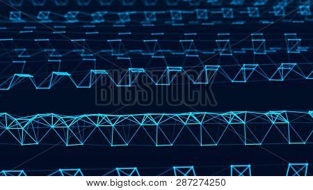 Abstract Technology Background. Network Connection Structure. Big Data Digital Background. 3D Render